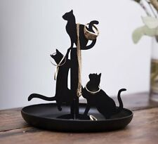 Kikkerland BLACK CATS JEWELLERY STAND Holder Organiser DISH 14cm Tall