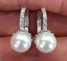 18K WHITE GOLD PLATED GLASS PEARL CZ SMALL HOOP WOMENS EARRINGS T9