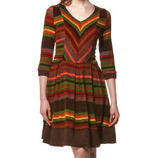 NeW YoUNG THREAdS BoHo A-LiNE DRESS FuLL SkiRT Multi Fall CoLoR STRIPE ZiG ZaG S