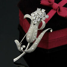 Tulip flower alloy wedding party silver women brooch pin with crystal rhinestone