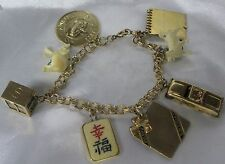 "VINTAGE GOLD FILLED CHARM 7 1/4"" BRACELET WITH CHARMS 28 GRAMS NR"