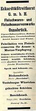 Eckardt & Streithorst Osnabrück FLEISCHKONSERVEN Historische Reklame 1908
