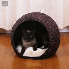 Cat Condo Pod House Bed Shelter Indoor Sleep Nap Pet Plush Fleece Pillow Kitty