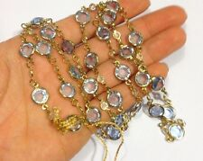"""30"""" Gold Vermeil Genuine Austrian Crystal Pale Blue and White Necklace"""
