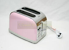 Pink Stylish 2 Wide Slice Toaster 6 Level Control Defrost Cancel Reheat AB