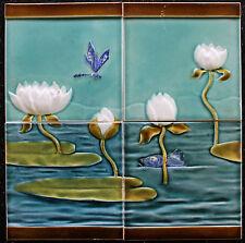 4 Jugendstil Fliese original um 1900 Relief D43 Art Nouveau tile utzschneider