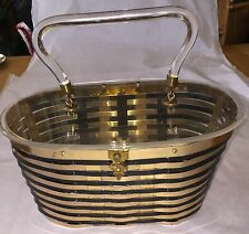 Vintage 1950s 50s Dorset & Rex Black and Gold Woven Metal Clear Lucite Purse