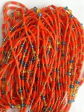"Sexy African Single Waist Beads, Orange, 40""inches long New FREE P&P"