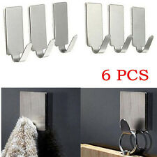 6PCS Adhesive Kitchen Wall Door Siver Stainless Steel Stick Holder Hook Hanger