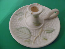 (2)  Belleek vintage  candlesticks with leaf pattern