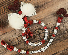Personalised set of two pram charm in red for baby girls boys ideal gift 2