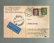 1942 Vienna Germany Postcard Cover DR Artur Klauser Police Chief to Bulgaria