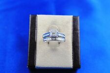 14K White Gold Diamond Princess & Round Diamond Wedding Set 1.0TCW Size 5.5