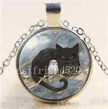 Black Cat With Owl Cabochon Glass Tibet Silver Chain Pendant  Necklace#2939