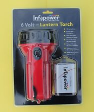 "INFAPOWER Lantern ""Torch"" in Red/Black inc a PJ996 6V Battery & Spare Bulb ""NEW"""
