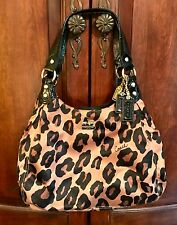 Coach Madison Ocelot Leopard Print Sateen Maggie Hobo Shoulder Bag