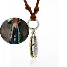 Men Charm 2Wings Vintage Choker Leather Chain Feather Pendant Necklace
