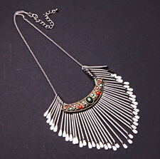 LUXURY AZTEC STATEMENT CHOKER PASTEL BEADS SILVER TONE 'MATCHES' TASSELS (CL18)