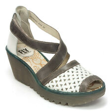 Fly London Ymes Rug Off white/Dk Grey Petrol Leather Wedge Sandal Size 37