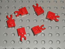 6 x LEGO red Plate with Clip 4085 / Set 6392 6371 6060 1584 6277 6956 6394...
