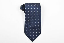 MENS Brioni Navy Blue White Silk Dotted Tie