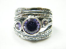 Fashion Jewellery Sterling Silver Ring Purple Lab-Created Amethysts Ladies