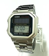 Genuine Casio Watch Solar Powered Stopwatch 5 Alarms AL-190WD-1A Stainless Steel