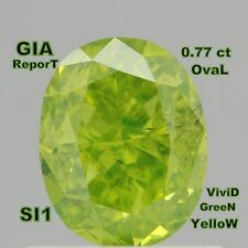 GIA CERTIFIED 0.77 Ct Fancy Vivid Yellow Green Oval Loose Diamonds L4056