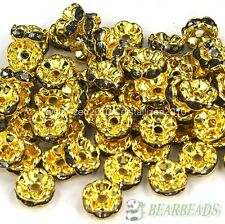 100Pcs Czech Crystal Rhinestone Gold Wavy Rondelle Spacer Beads 6mm 8mm 10mm