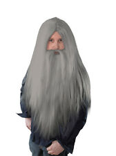 Wizard Fancy Dress Grey Wig And Long Beard Old Man, Merlin, Halloween Costume