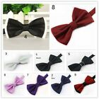 Mens Silk Satin Tuxedo Solid Bow Tie Formal Wedding Pre-tied Bowtie Necktie