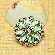 NEW Green Rhinestone Charm Chunk Snap Button fit for Noosa Bracelet IOO52