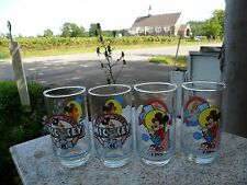 Set of 4 Disney Mickey Mouse Through The Years 1928 - 1988 Cartoon Glasses 60th
