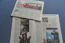 ALICE COOPER THE GUARDIAN UK  NEWSPAPER PIC ON COVER & 2 PAGE FEATURE 13/6/2014