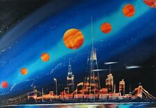 "Original Spray Paint Art - New York City Night Skyline - Signed 14"" x 20"" New"