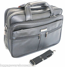 Mens Black Laptop Bag Messenger Briefcase Business Work Bag Leather Feel