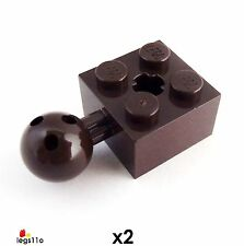 LEGO Brick 2X2 with Ball Jont and Axle Hole (Pack of 2) NEW 57909 Dark Brown