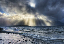 Framed Print - Sun Beaming onto a Stormy Ocean (Picture Poster Sea Beach Art)
