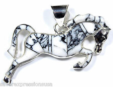 White Buffalo Turquoise Inlay 925 Sterling Silver Horse Pendant Necklace