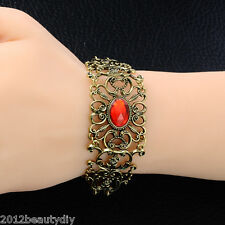 Retro Bronze Red Rhinestone Flower Bangle Women Lady Braclet Chain Jewelry