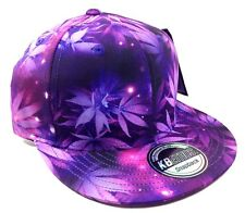 PURPLE MARIJUANA GALAXY ALL OVER PRINT SNAPBACK HAT CAP WEED LEAF CANNABIS SPACE
