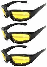 3 PAIR COMBO Padded Sunglasses Motorcycle Riding Glasses 3 Yellow Night Driving