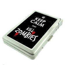 Metal Cigarette Case with Built In Lighter Keep Calm and Kill Zombies Design-021