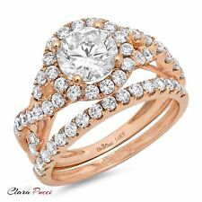 2.40 Carat Round Cut Halo Engagement Ring band set real 14k Rose Gold Bridal