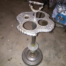 Art Deco Metal And Glass Smoke Stand Standing Ash Tray Retro