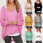 UK 8-18 Oversized Women Ladies Loose Long Sleeve Shirt Blouse Baggy Tops Jumper