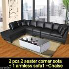 Black PU Leather 3 Seater Chaise Lounge Sofa with Ottoman