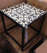 Pottery Barn Bistro Tile Side Table Patio Black Moroccan Fleur De Lys Outdoor