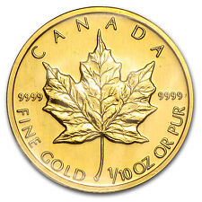 1991 Canada 1/10 oz Gold Maple Leaf BU - SKU #84226