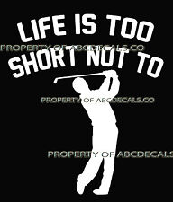 LIFE 2 SHORT GOLF Golfer Swinging Iron Club to the Left Car Decal Wall Sticker